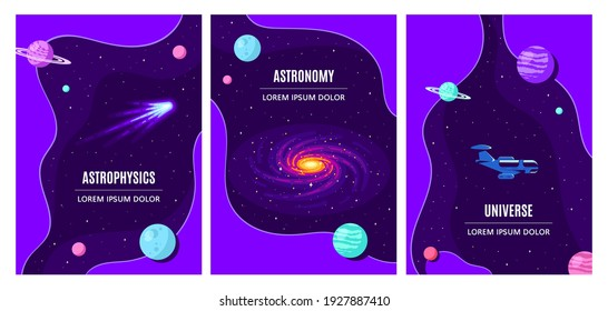 Set of Templates for Flyer, Magazine, Poster, Book Cover. Outer Space, Science, Astronomy and Astrophysich Concept Design. Flat Style Vector Illustration