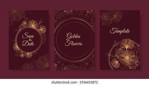 Set of templates with golden flowers and circle frame on dark red background. Vector outline flowers and leaves. Geometry with elegant flowers on burgundy background.