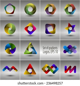 Set of templates gradient logos. Vector EPS 10