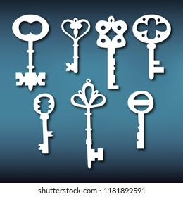 Set templates of keys for laser cutting. Pattern of keys for cutting from various materials. Vector illustration.