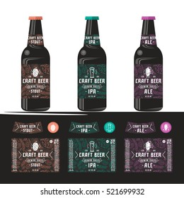 Set of templates label for craft beer. Print on a black or transparent background. Presentation on the bottle