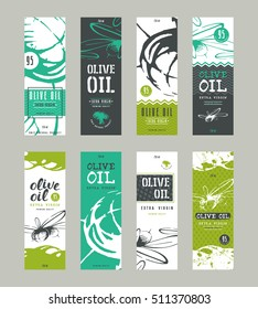 Set of templates label for olive oil. With hand-drawn graphic