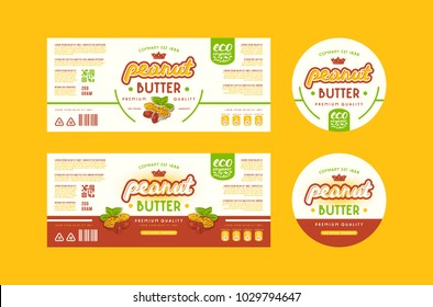 Set of templates label for peanut butter. Illustration with elements in handmade graphics