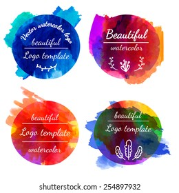 Set of templates, logos, signs. Watercolor texture. Watercolor splashes. Dark colors. Place for your text. vector