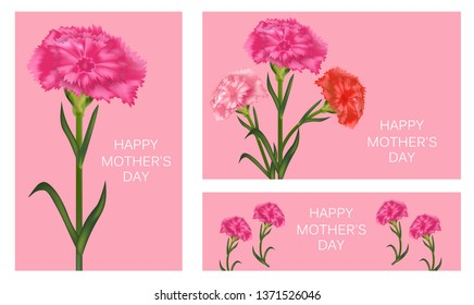 d3a1f54fac179 Set of templates for Mother's Day with carnation. Poster, banner or  greeting card. Pink carnation with light blue background. Carnation flower  ...