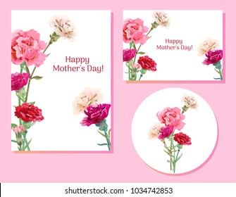 Set of templates for Mother's Day (vertical, horizontal, round): carnation schabaud: red, pink, white flowers, green leaves, white background, hand draw, vintage botanical illustration, vector