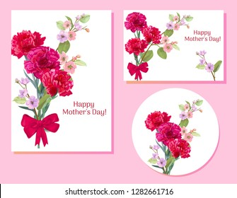 Set of templates for Mother's Day (vertical, horizontal, round): carnation, spring blossom: red, pink, white flowers, leaves, white background, vintage botanical illustration, watercolor style, vector