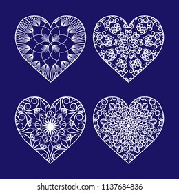 Set of templates of openwork hearts for laser or plotter cutting.