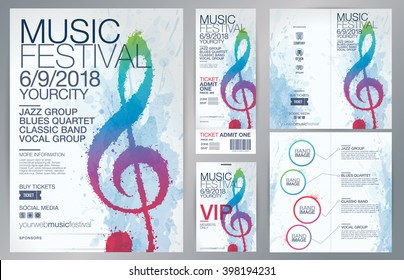 Set of templates with poster, brochure, ticket, program event and VIP. Treble clef illustration with brush strokes and colors. Texture watercolor effect. Vector file with CMYK colors