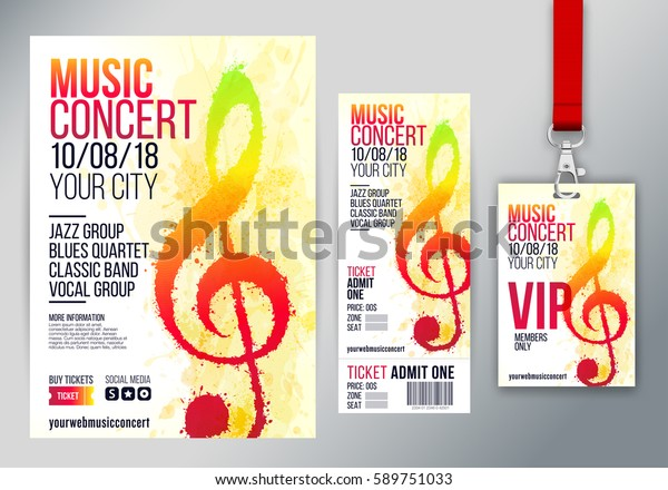 Set Templates Poster Leaflet Ticket Vip Stock Vector