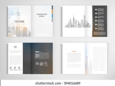 set templates for presentation slides. Graphic design of building