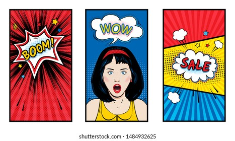 Set of templates for social media stories cover. Surprised woman with Wow pop art face and open mouth. Vector colorful background in pop art retro comic style with speech bubbles