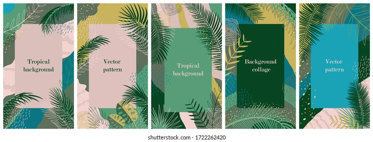 Set of templates for social network stories. Vertical background with space for text. Wallpaper with tropical leaves, palm branches and abstract elements. Summer landscape, greeting card, cover design