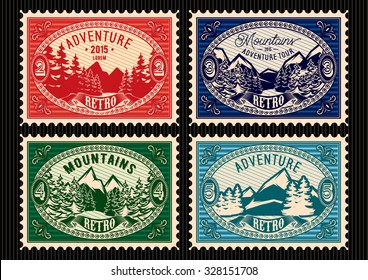 set of templates stamps with fir forest and mountains