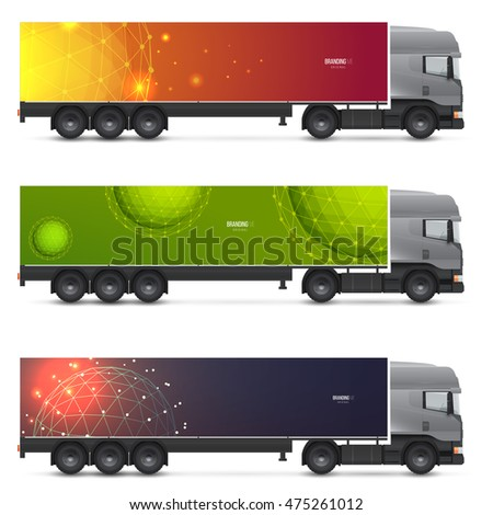 set templates transport mockup white truck stock vector royalty