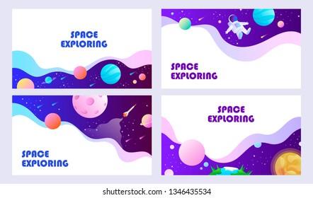 Set of templates for web banner, landing, card, flyer, presentation. Space explore. Children cartoon vector illustration.