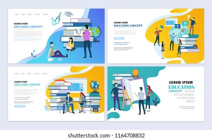 Set of templates web page design. Education, online education, e-learning modern flat design concept. Web page design for website and mobile website. Vector illustration.