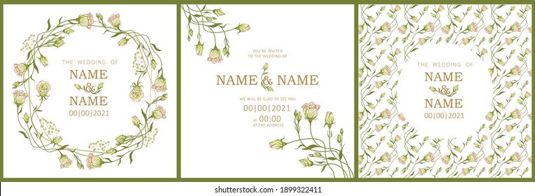 set of templates for wedding invitation with eustoma flowers, seamless patterns and borders, all elements are editable in vector on a white background