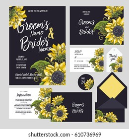 Set of templates  for wedding invitation, postcard, information list, respond, reply and design for envelope with  hand drawn sunflowers background
