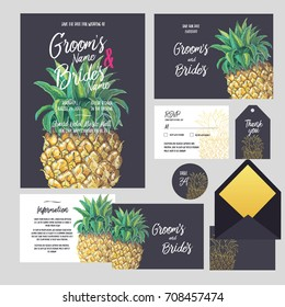 Set of templates  for wedding invitation, postcard, information list, respond, reply and design for envelope with  hand drawn pine apple background