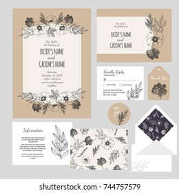 Set of templates  for wedding invitation, postcard, information list, respond, reply and design for envelope with  hand drawn doodle flowers composition