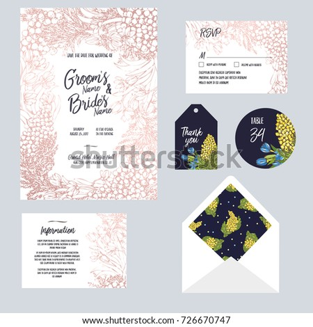set templates wedding invitation postcard information のベクター