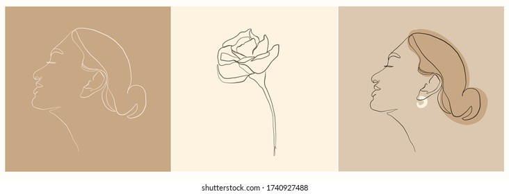 Set of templates with woman portrait and flowers drawn by one line continuous. Abstract female face. Minimal linear style. Beauty and fashion concept.