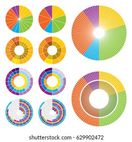 Set of ten circle charts in different styles, divided every one percent, five percent and ten percent.
