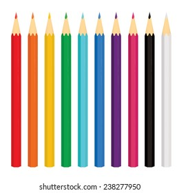 Set of ten colored pencils on white background. Vector illustration.