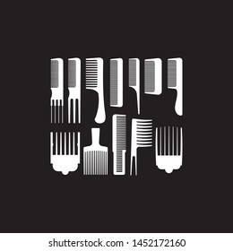 Set of ten combs  vector illustration