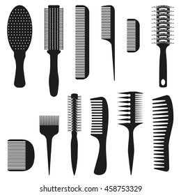 Set of ten combs, vector illustration