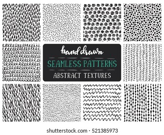 Set of ten hand drawn ink seamless patterns. Endless vector backgrounds of simple primitive scratchy textures with dots, stripes, waves.