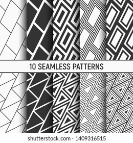 Set of ten monochrome seamless patterns. Abstract geometrical trendy vector backgrounds. Repeating geometric tiles with diagonal santed filled bricks, tiles from striped elements, traingle patterns.