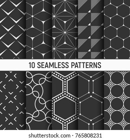 Set of ten monochrome seamless patterns. Abstract geometrical trendy vector backgrounds. Fashion design. Modern stylish textures with triangles, dots, stripes, lines, hexagons, smooth lines.