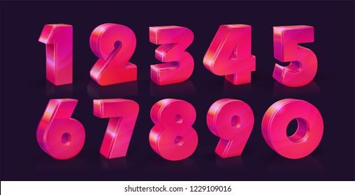 Set of ten numbers form zero to nine, Vivid neon pink on dark background. Vector illustration