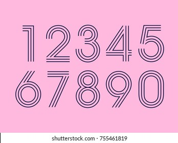 Set of ten numbers form zero to nine, number design elements