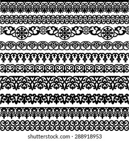 set of the ten ornamental border for your design. Vector illustration black on the white background