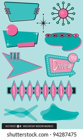 Set of ten retro, 1950's-style vector elements for posters, labels, menus, and more.