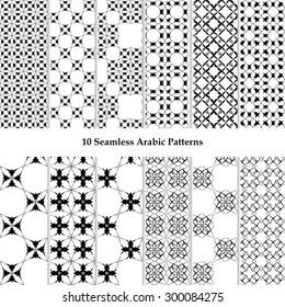 Set of ten seamless Arabic patterns. Moroccan background. Monochrome geometric tiles. Black & White.