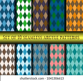 Set of ten seamless argyle plaid patterns.