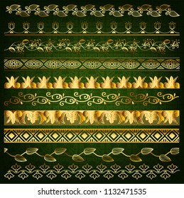 Set of ten seamless golden borders in arabic style, perfect elemets for design