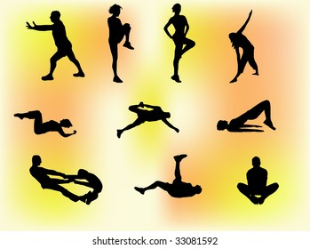 Set of ten silhouettes of people doing gym exercises, stretching etc.