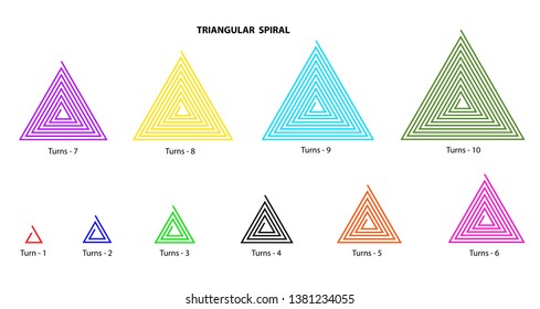 Set of ten triangular spirals vector each have different turns and color on white background.