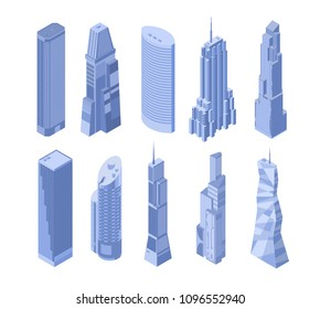 Set of ten vector isometric skyscrapers in shades of blue on a white background