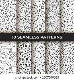 Set of ten vector seamless patterns. Retro memphis geometric line shapes. Retro fashion style 80s. Black and white abstract jumble textures. Mosaic curved, zigzag lines, dash textures