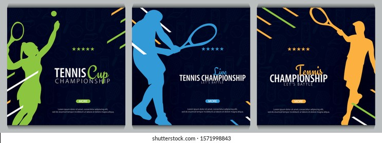 Set of Tennis Championship banners, design with player and racquet on dark background. Vector illustration