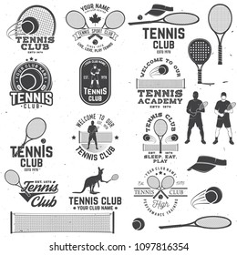 Set of Tennis club badges with design element. Vector illustration. Concept for shirt, print, stamp or tee. Vintage typography design with tennis player, racket, tennis visor and ball silhouette.
