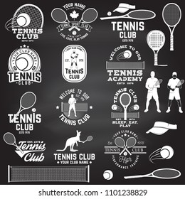 Set of Tennis club badges with design element on the chalkboard. Vector. Concept for shirt, print, stamp or tee. Vintage typography design with tennis player, racket, tennis visor and ball silhouette.