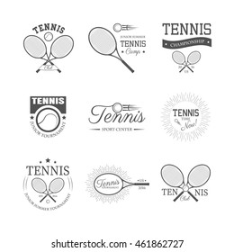 Set of tennis emblems, logos, labels and design elements, isolated on white background. Vector illustration