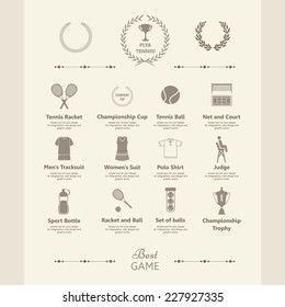 Set of tennis icons. Sports objects. Info graphics set. Simple elements and symbols. Icons for your design. In vintage style.